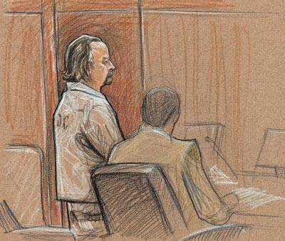 En un boceto de artista de noviembre de 2008, Roger Bergendorff le dice al juez de distrito de los Estados Unidos, Robert Jones, que no tuvo la intención de herir a nadie con veneno de ricina que ...