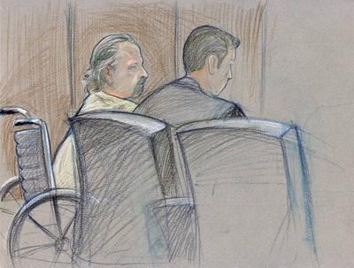 En un boceto de un artista de agosto de 2008, Roger Bergendorff se declara culpable de cargos federales que incluyen la posesión de una toxina biológica y la posesión de armas de fuego no regis ...
