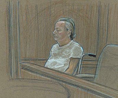 En este esbozo de la corte, Roger Bergendorff, acusado de posesión de una toxina biológica y dos violaciones de armas, comparece ante un tribunal federal en silla de ruedas el 16 de abril de 200 ...