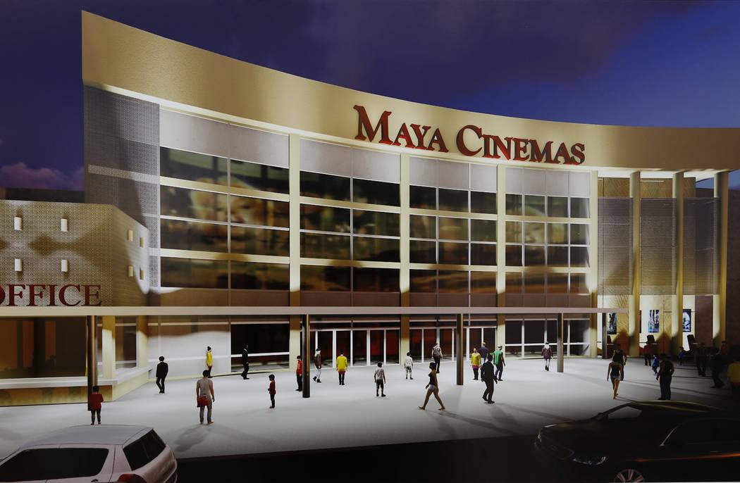 Un render de Maya Cinemas representa lo que es un cine de 14 salas en el 2195 de Las Vegas Blvd. North, al otro lado de la calle del Ayuntamiento del norte de Las Vegas, podría verse desde el ext ...