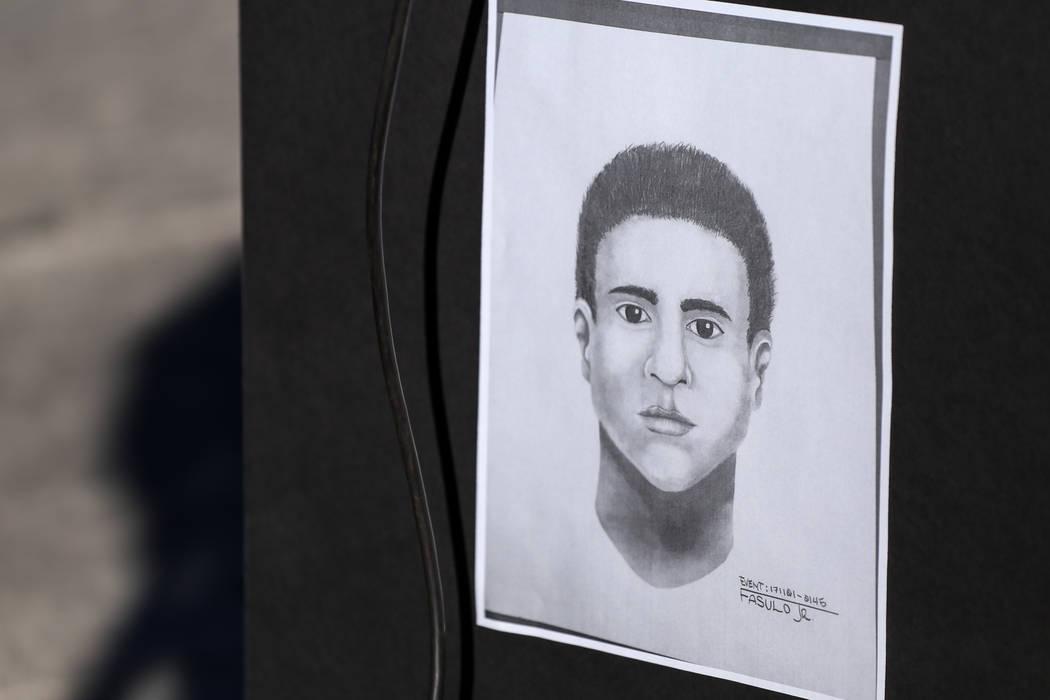 Un boceto forense de un sospechoso relacionado con la brutal golpiza de Shelia Hawkins el 1° de noviembre se exhibe durante una conferencia de prensa del Departamento de Policía Metropolitana en ...