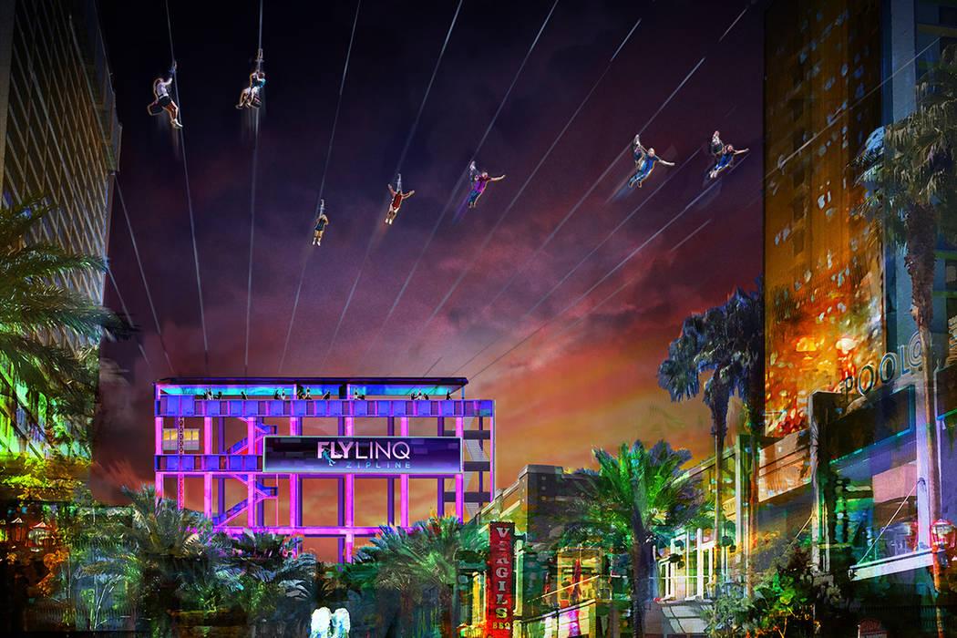 La tirolesa Fly Linq contará con 10 líneas una al lado de la otra que pueden lanzar a todos a la vez en el centro comercial The Linq Promenade. (Representación contribuida)