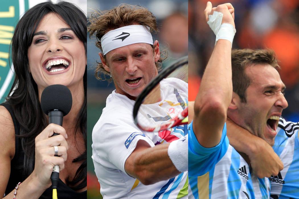De izquierda a derecha: los tenistas Gabriela Sabatini y David Nalbandian y el jugador de hockey sobre césped Matías Paredes. | Fotos AP.