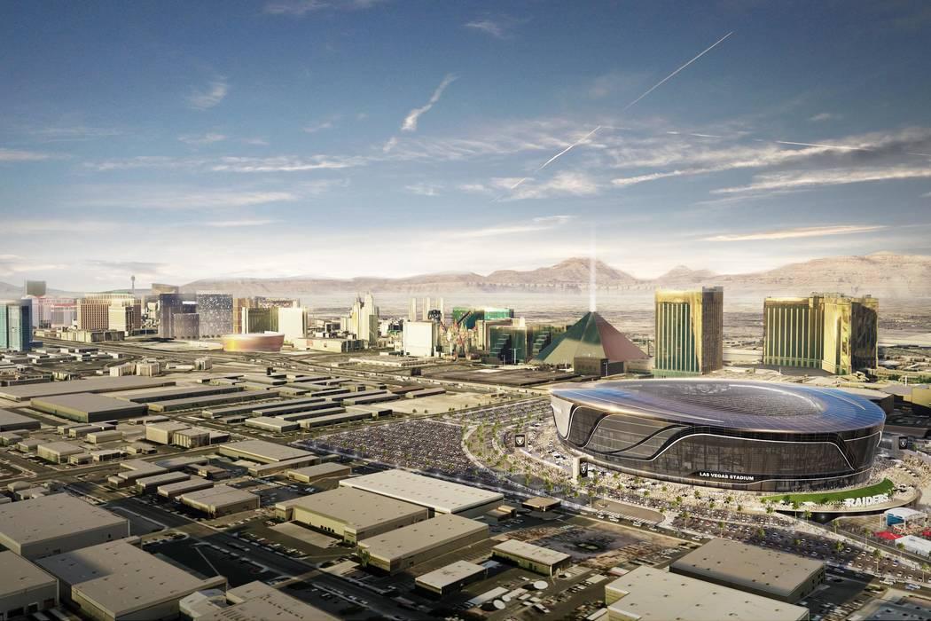 Un render de vista aérea del proyecto del estadio Las Vegas Raiders. (Arquitectura MANICA)