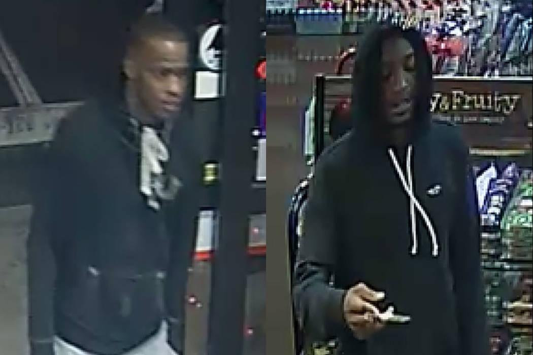 Estos dos hombres son buscados para ser interrogados en el tiroteo fatal de una mujer de 18 años. (Departamento de Policía de North Las Vegas)