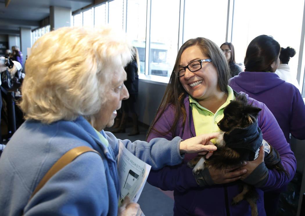 Sandy Colins, a la izquierda, acaricia a Hat Trick mientras Mary Brittsan, una voluntaria de Animal Foundation, observa en el City National Arena el lunes, 18 de diciembre de 2017, en Las Vegas. L ...