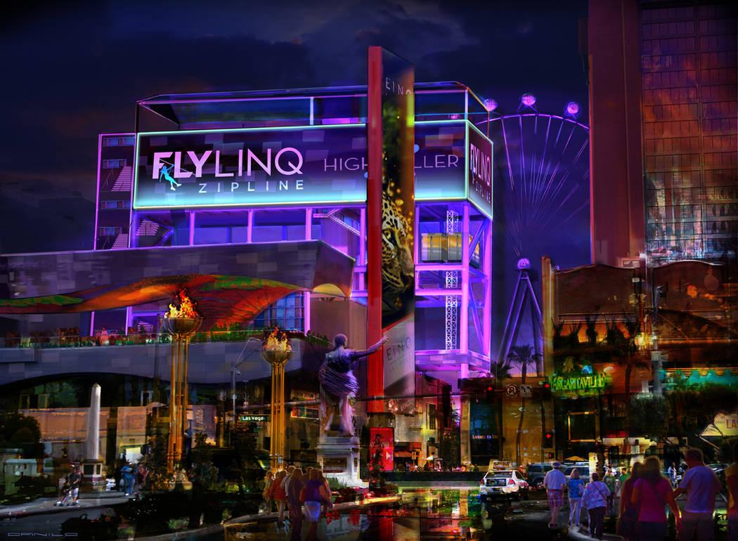 """Esta foto compuesta del área turística """"The LINQ Promenade"""", en el Strip, muestra un aspecto de cómo sería """"Fly LINQ"""", el proyecto de Tirolesas que Caesars Entertainment construirá en ..."""