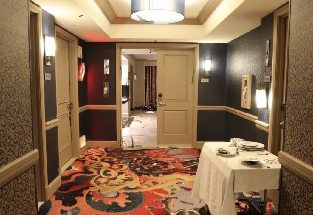 Vista desde el pasillo hacia la habitación 32-135. LVMPD.
