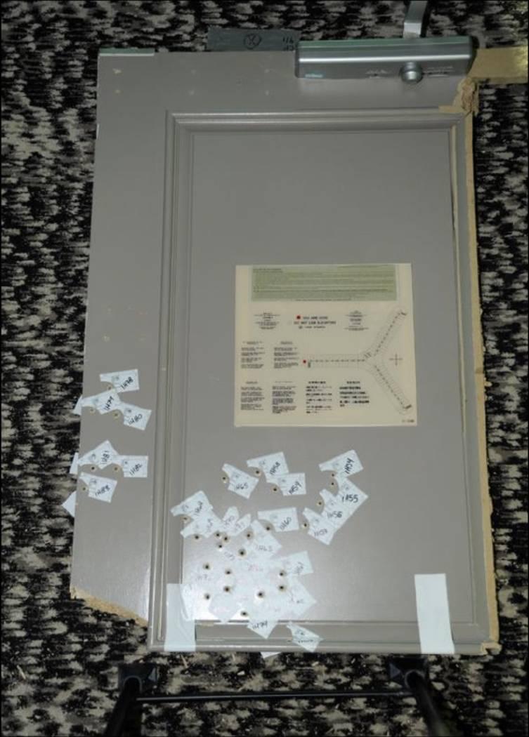 La puerta a la  habitación de Stephen Paddock. LVMPD.