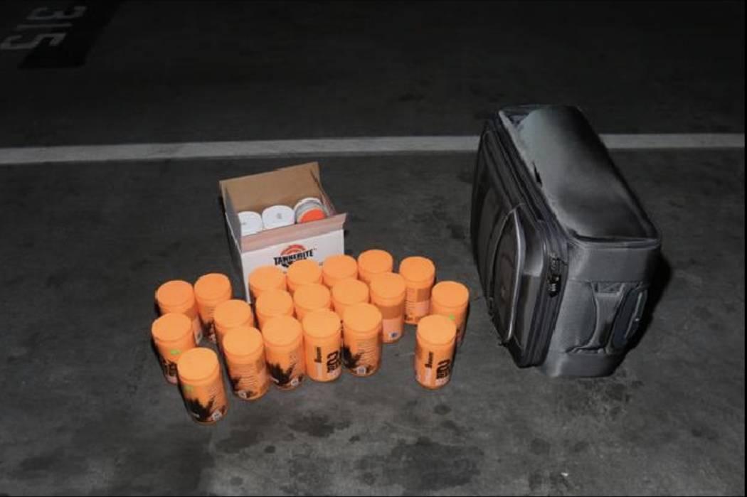 Objetivos explosivos  encontrados en el vehículo de Stephen Paddock. LVMPD.