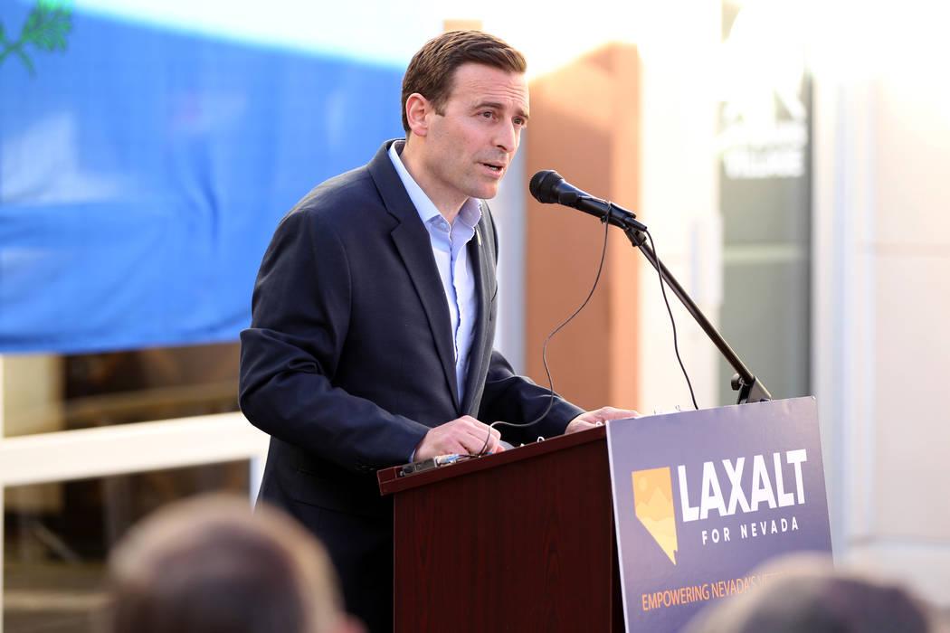 El candidato republicano a la gobernación, el fiscal general de Nevada, Adam Laxalt, habla en Veterans Village, en el centro de Las Vegas, el miércoles 24 de enero de 2018. (K.M. Cannon / Las Ve ...
