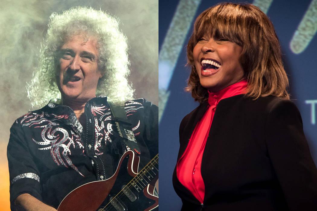 Banda Queen y la cantante Tina Turner. | Fotos AP.
