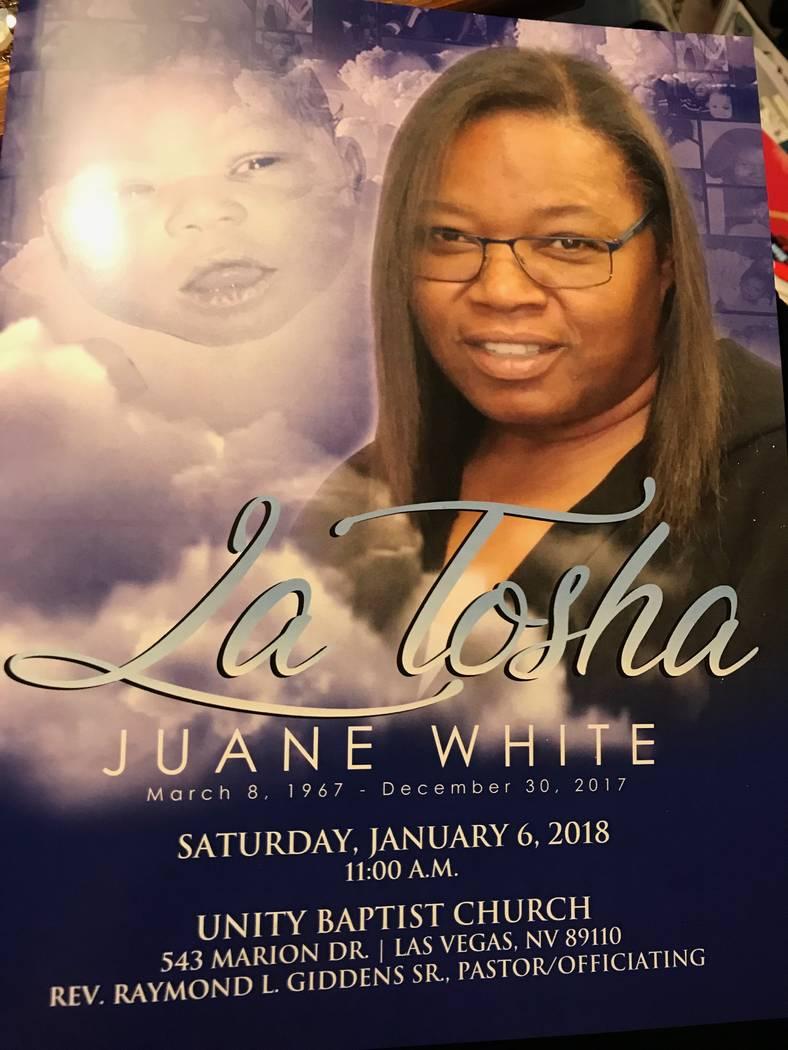 Una imagen del programa en el funeral de LaTosha White. Foto cortesía de Michelle Huskins.