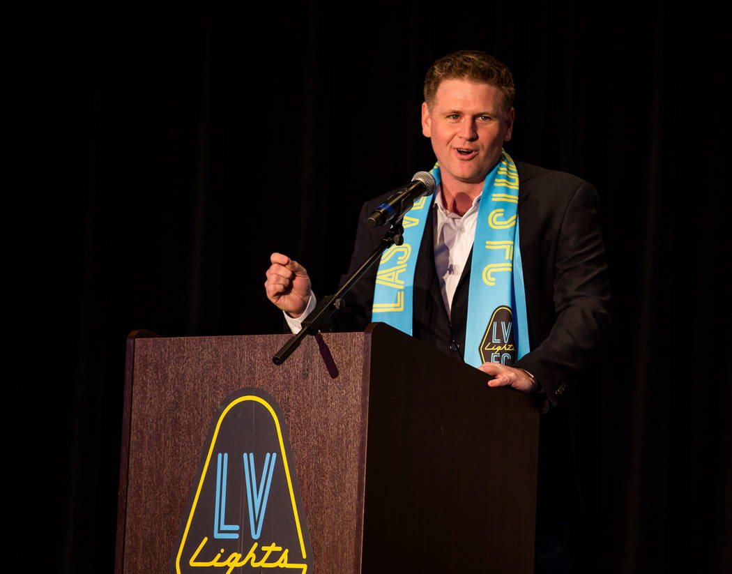 Las Vegas Lights FC soccer team owner Brett Lashbrook speaks during jersey reveal event at the Zappos Downtown campus on Las Vegas Boulevard on Wednesday, Feb. 7, 2018.  Patrick Connolly Las Vegas ...