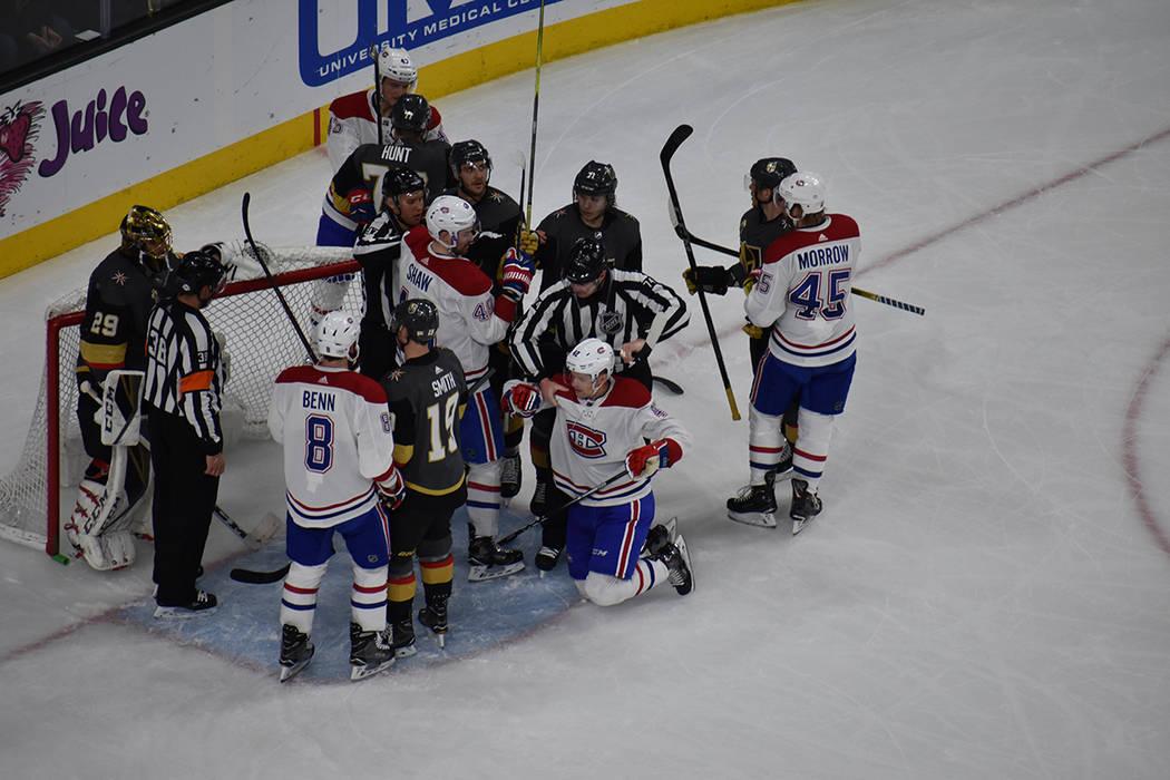 Vegas Golden Knights y Montreal Canadiens protagonizaron un juego ríspido. 17 de febrero de 2018 en T-Mobile Arena de Las Vegas. Foto Anthony Avellaneda / El Tiempo.