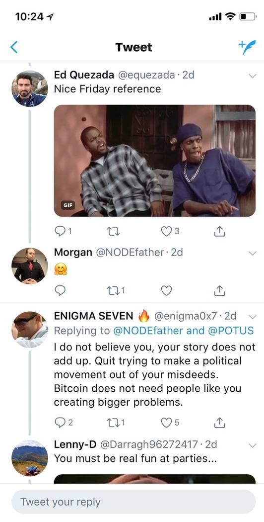 Mientras que Morgan Rockcoons ha recibido el apoyo de muchos fanáticos de criptomonedas en Twitter, algunos encuentran dudosas sus afirmaciones. (Gorjeo)