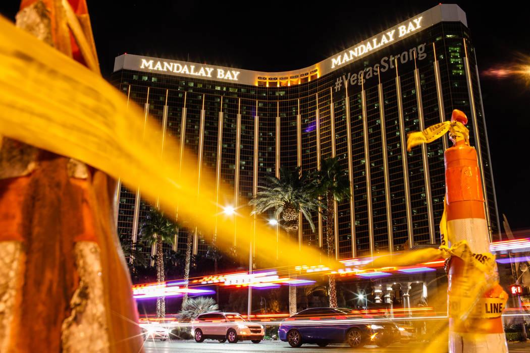 Mandalay Bay en Las Vegas el 7 de noviembre de 2017. Un pistolero disparó y mató a 58 personas el 1 de octubre de 2017 desde su suite del piso 32 en el hotel. El Departamento de Policía Metropo ...