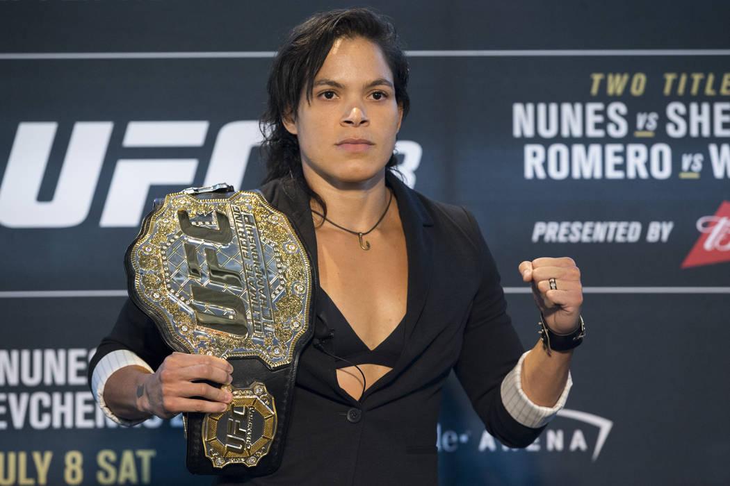 Amanda Nunes durante el UFC 213 Ultimate Media Day en la Arena T-Mobile en Las Vegas el jueves 6 de julio de 2017. Erik Verduzco Las Vegas Review-Journal @Erik_Verduzco