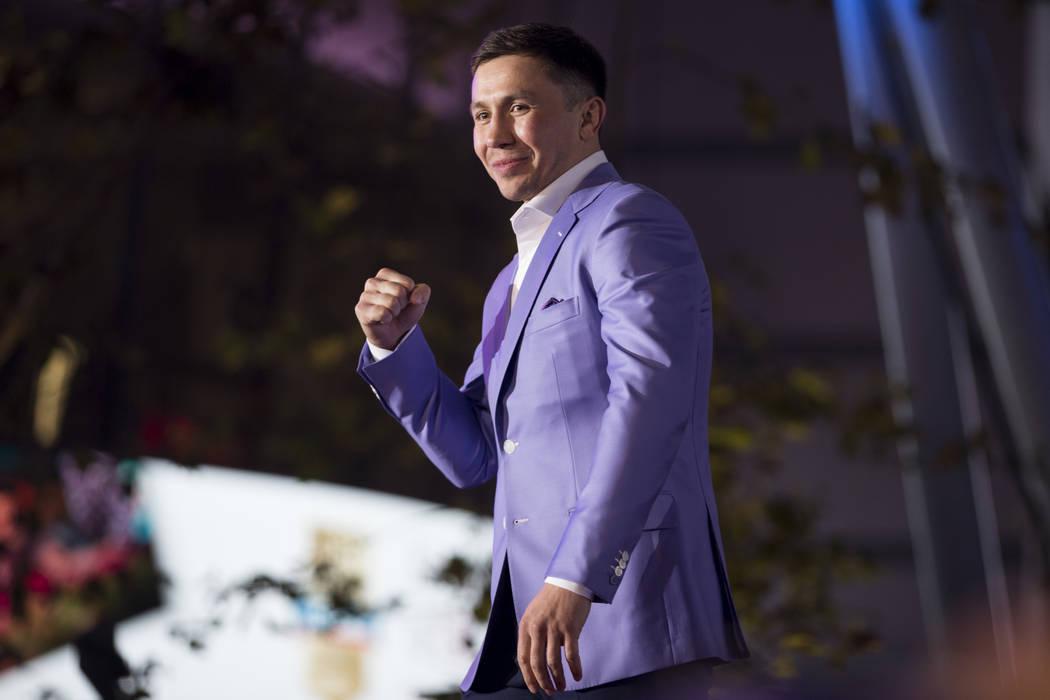 """Gennady Golovkin durante una conferencia de prensa para su próxima pelea contra Saúl """"Canelo"""" Álvarez, en el Microsoft Square en Los Ángeles, California, el martes 27 de febrero de 2018. Erik  ..."""