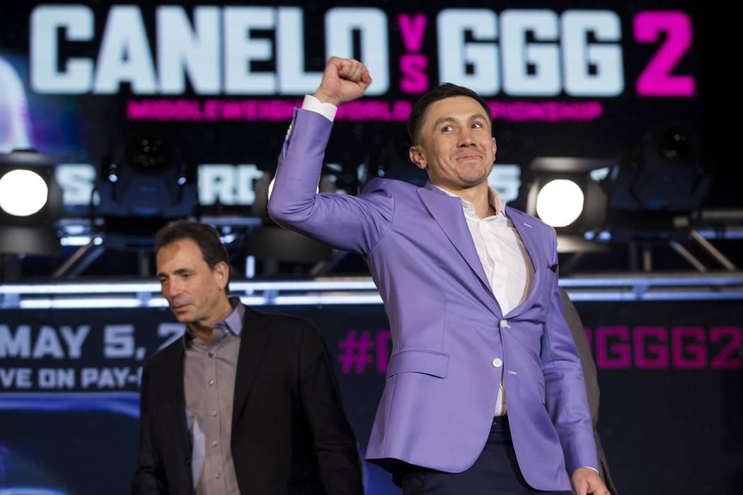 """Gennady Golovkin durante una conferencia de prensa de boxeo para su próxima pelea contra Saúl """"Canelo"""" Álvarez, en Microsoft Square en Los Ángeles, California, el martes 27 de febrero de 2018. ..."""