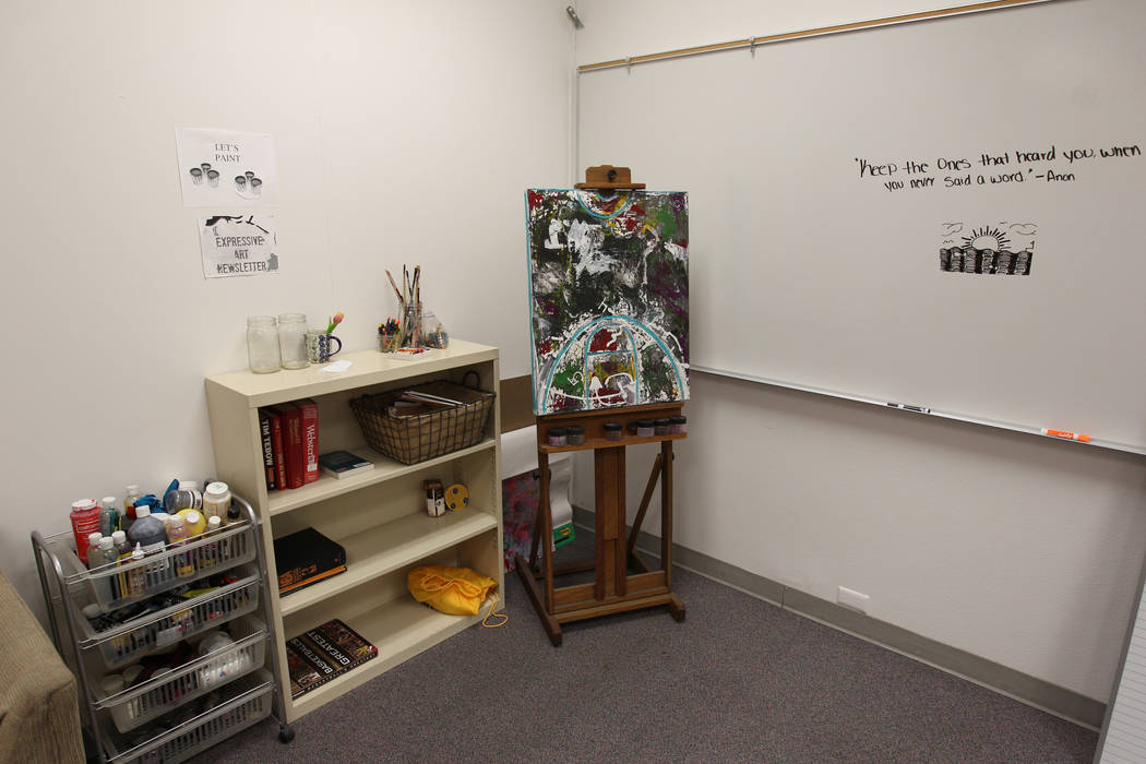 The classroom of Behavioral Strategist Jermone Riley of Bonanza High School in Las Vegas is equipped with art supplies Wednesday, Feb. 21, 2018. Riley's position, to proactively address behavioral ...