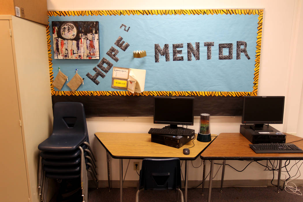 The classroom of Behavioral Strategist Jermone Riley of Bonanza High School in Las Vegas is shown Wednesday, Feb. 21, 2018. Riley's position, to proactively address behavioral issues, is partially ...