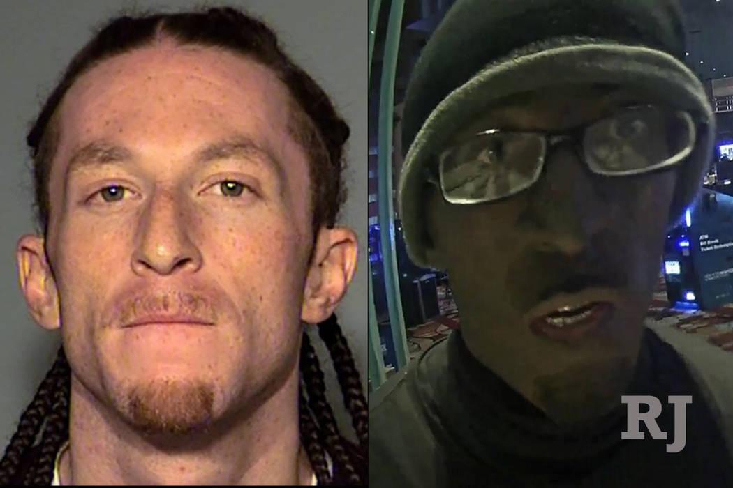 Cameron James Kennedy está acusado de robar a punta de pistola una jaula de caja en el Hotel New York-New York, el 10 de enero de 2018. Inicialmente fue descrito como un hombre de tez negra, pero ...