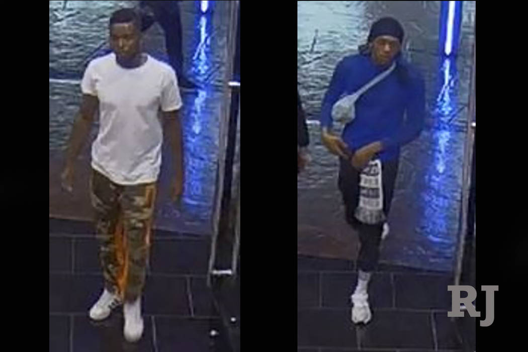 La policía está buscando a dos sospechosos en un robo de una tienda minorista en el Strip de Las Vegas. (Departamento de Policía Metropolitana de Las Vegas)