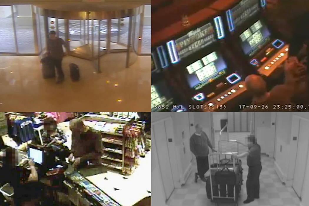 Varias tomas de imágenes de seguridad de Stephen Paddock en el Mandalay Bay. MGM Resorts