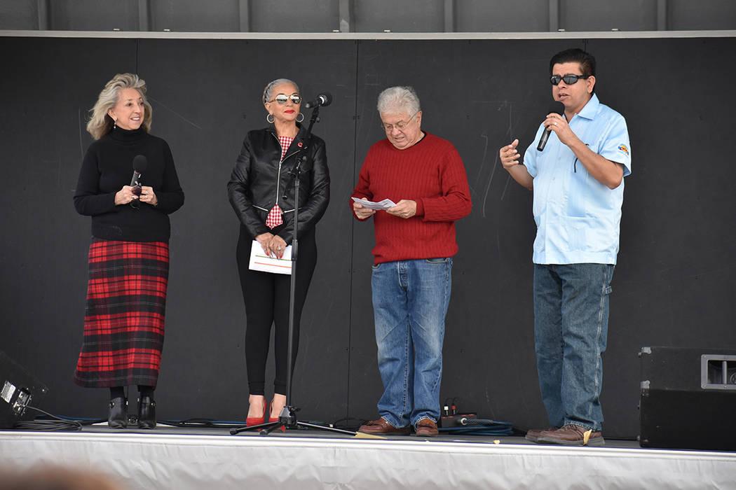 De izquierda a derecha, la congresista Dina Titus, Nohemí Quintero, concejal de LV Bob Coffin y el concejal de NLV Isaac Barrón. Sábado 24 de marzo de 2018 en parque Gary Reese Freedom. Foto An ...