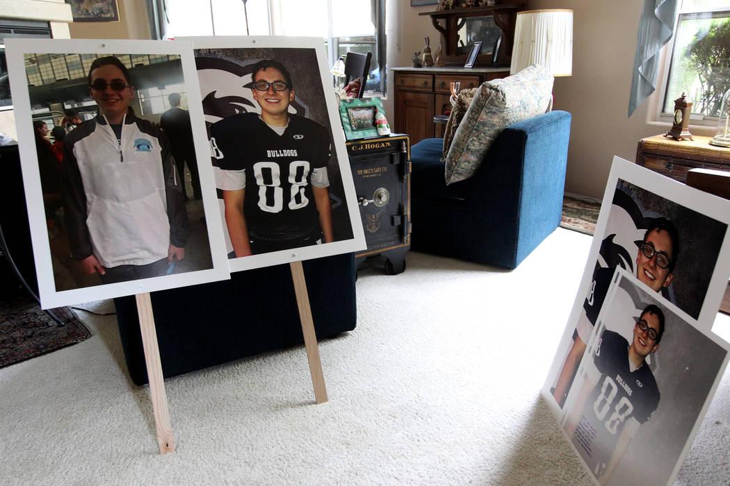 Fotos de Matt Touma, un estudiante de Centennial High School de 16 años que se quitó la vida en su casa de Las Vegas se muestran en la casa de la familia el lunes 2 de abril de 2018. K.M. Cannon ...