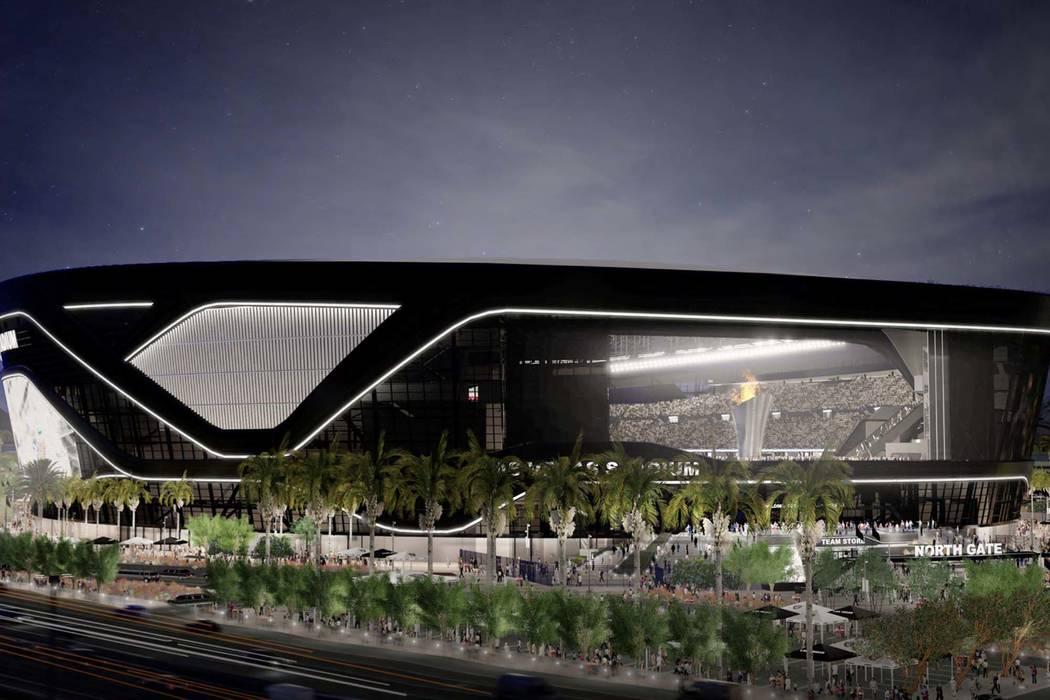 Render del nuevo estadio Raiders que se está construyendo en Las Vegas. (Autoridad del Estadio de Las Vegas)