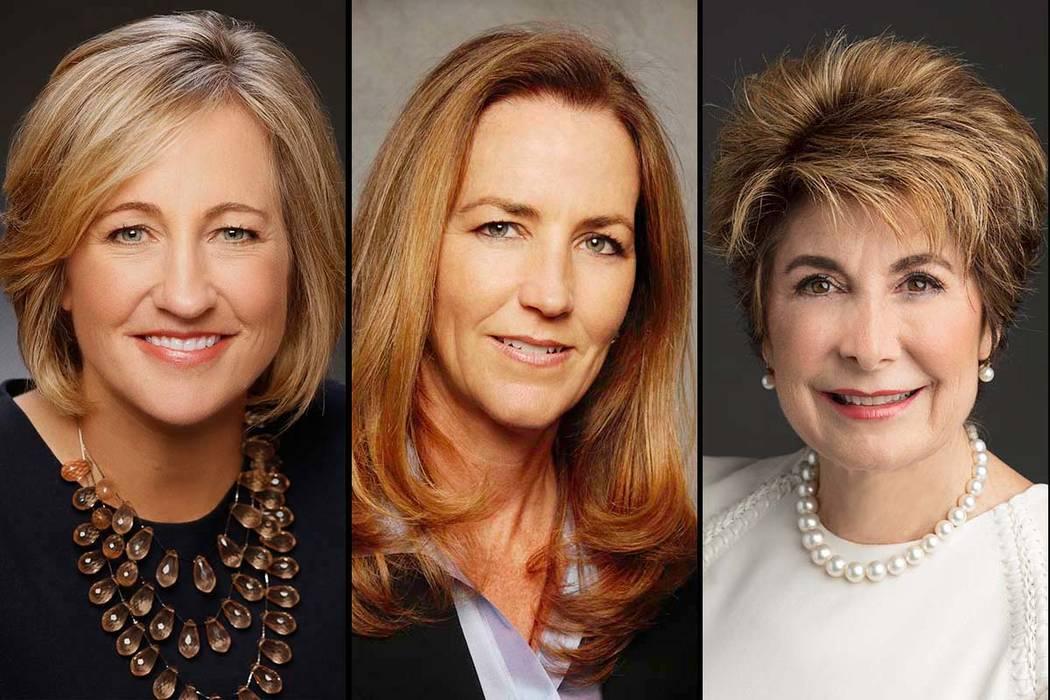 """Dee Dee Myers, izquierda, Winifred """"Wendy"""" Webb y Barbara Atkins han sido nombradas como nuevas miembros independientes de la junta directiva ampliada de Wynn Resorts. (Wynn Resorts)"""