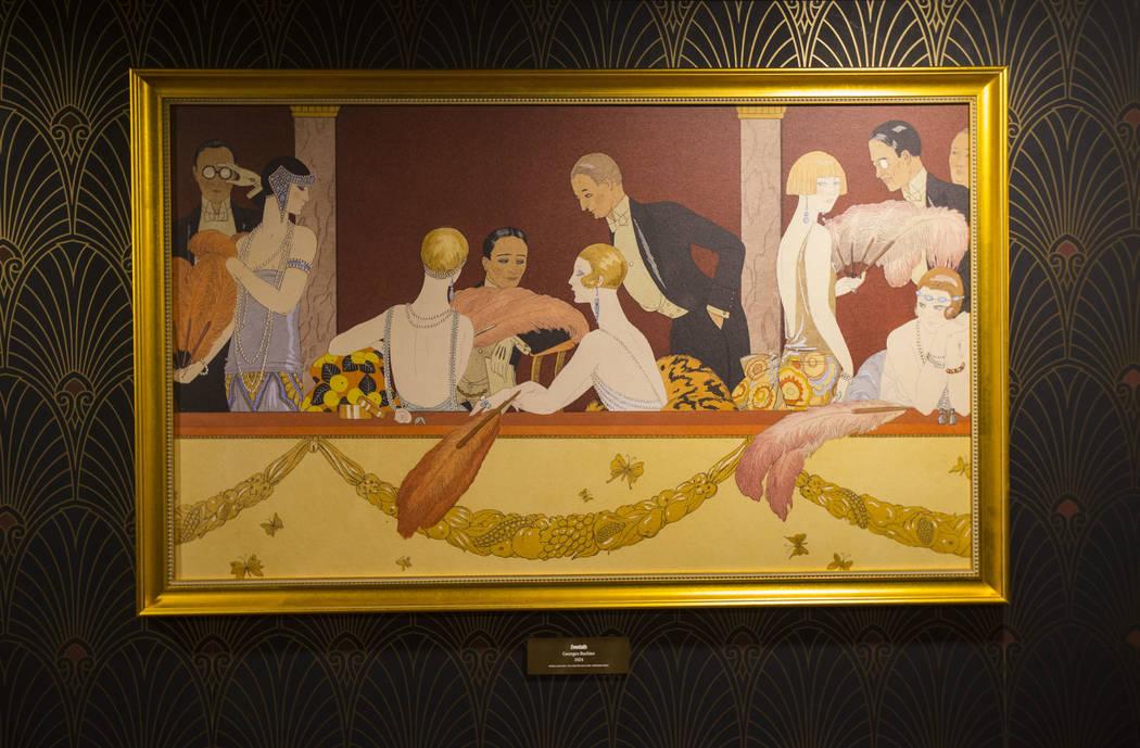"""Una impresión de la pintura """"Eventails"""" de Georges Barbier es una de las obras de arte de la época de la Prohibición expuesta en una sala oculta en The Underground en The Mob Museum en el centr ..."""