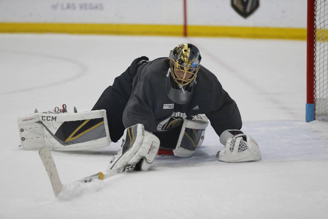 Marc-Andre Fleury durante una práctica de equipo en City National Arena en Las Vegas, el sábado 21 de abril de 2018. Erik Verduzco Las Vegas Review-Journal @Erik_Verduzco