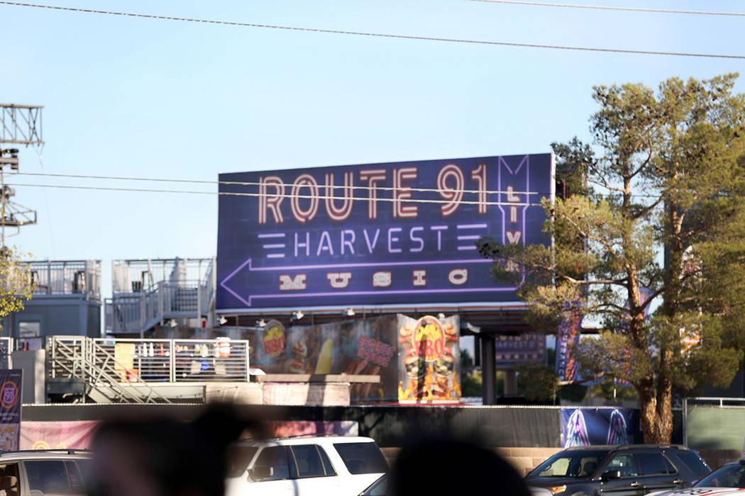 Los terrenos del festival Route 91 Harvest en Las Vegas Strip, el sábado, 7 de octubre de 2017. (Elizabeth Brumley / Las Vegas Review-Journal) @EliPagePhoto