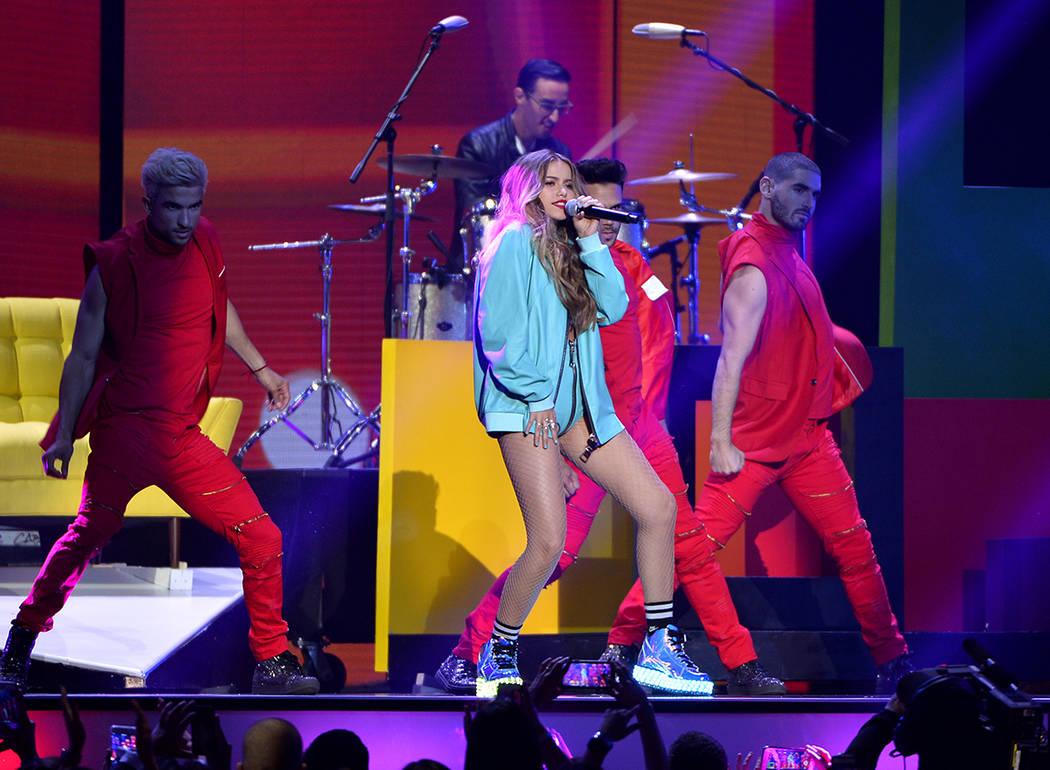 PREMIOS BILLBOARD DE LA MÚSICA LATINA 2018. Sofia Reyes se presenta en el escenario en el Mandalay Bay Resort y Casino en Las Vegas, NV el 26 de abril de 2018. Foto John Parra / Telemundo.