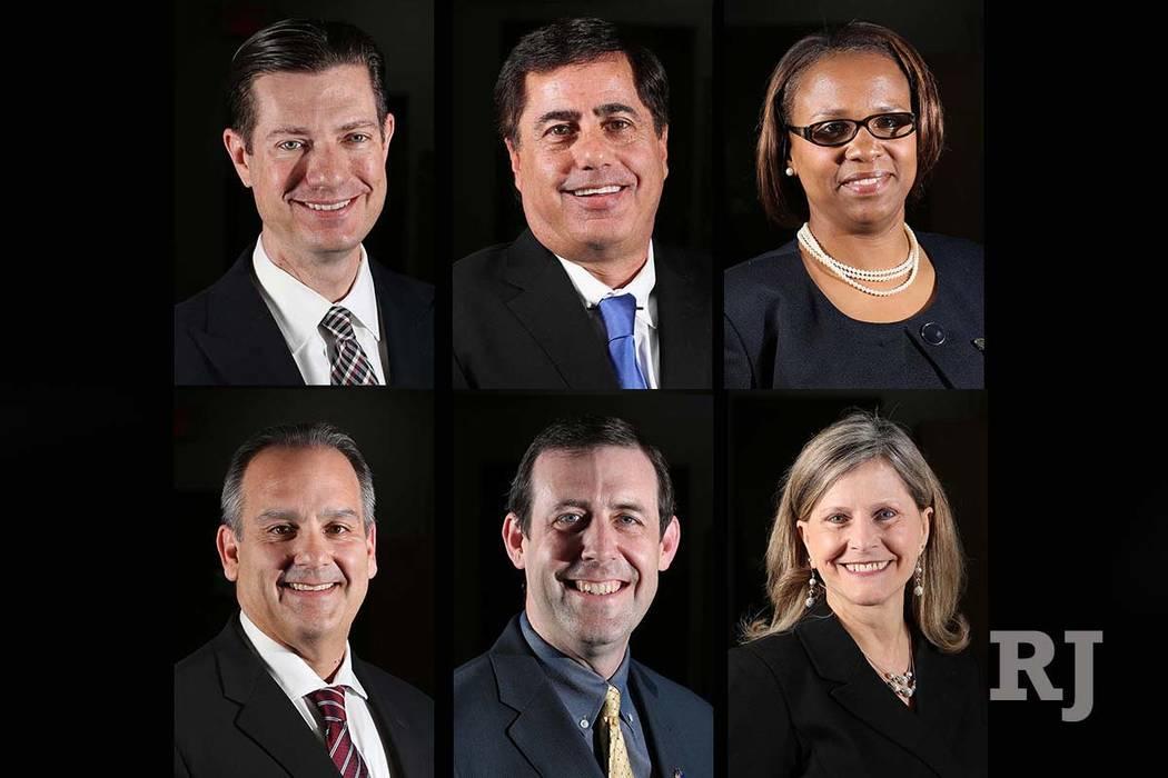 Los finalistas para el puesto de superintendente del Distrito Escolar del Condado de Clark son, arriba, desde la izquierda: Mike Barton, Don Haddad, Shonda Huery Hardman, y abajo, desde la izquier ...
