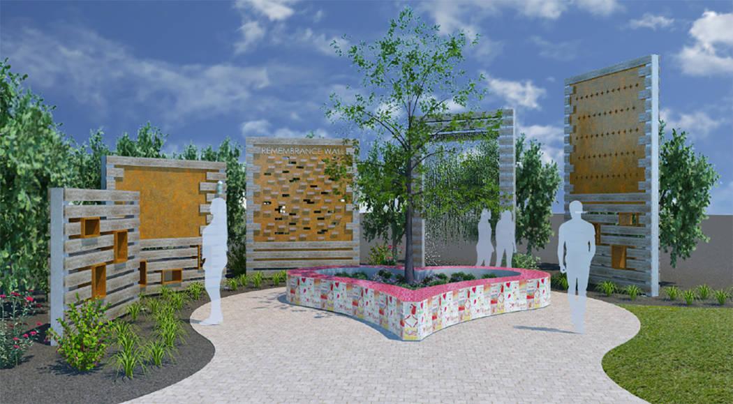 Un render de un muro planeado para recordar a las víctimas del festival Route 91 Harvest muestra cinco piezas separadas en diferentes alturas con texto iluminado y placas conmemorativas, dispuest ...