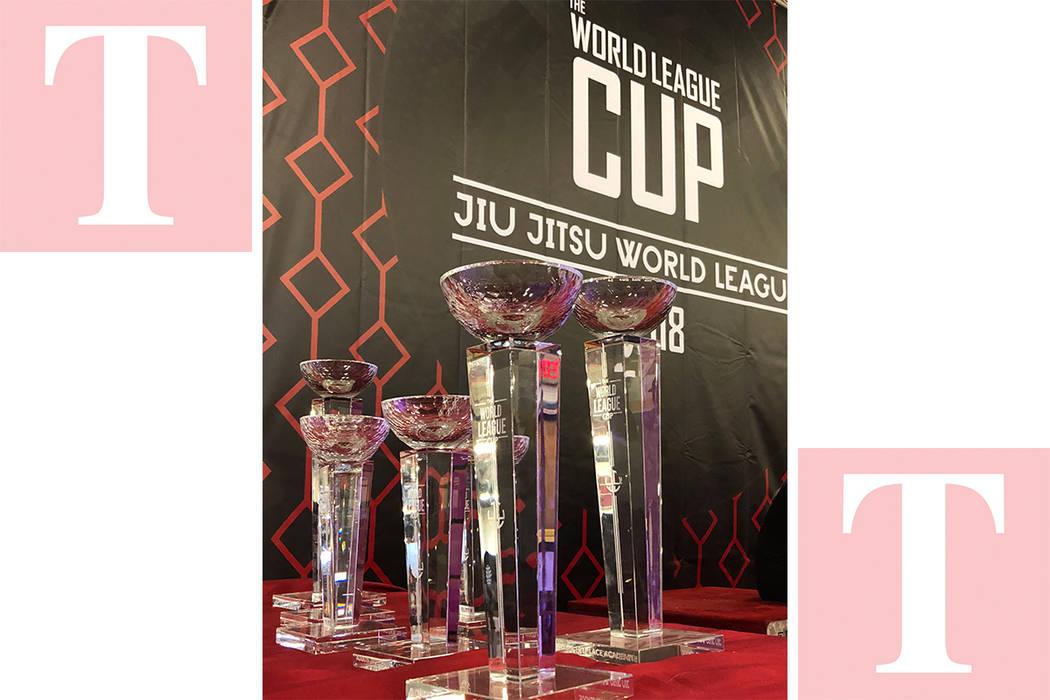"""Parte de los trofeos entregados a las mejores academias de Jiu Jitsu, el 29 de abril del 2018, en el Torneo """"World League Cup"""". Foto Valdemar González / El Tiempo - Contribuidor."""