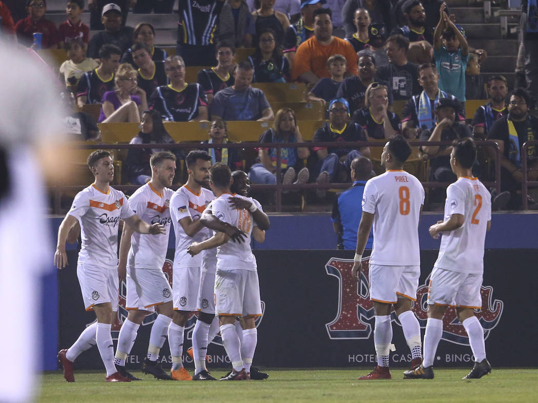 Tulsa logró empatar el juego con gol de Joaquín Rivas. Sábado 5 de mayo de 2018 en estadio Cashman. Foto Chase Stevens / Las Vegas Review-Journal.