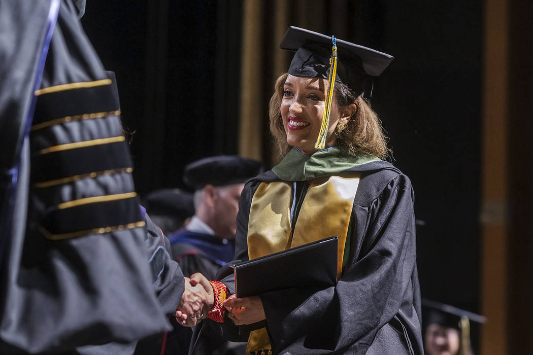 Niyat Teweldebrhan, a 28-year-old Eritrean refugee who survived war in her home country, receives her Masters of Science in medical health sciences from the College of Osteopathic Medicine at Tou ...