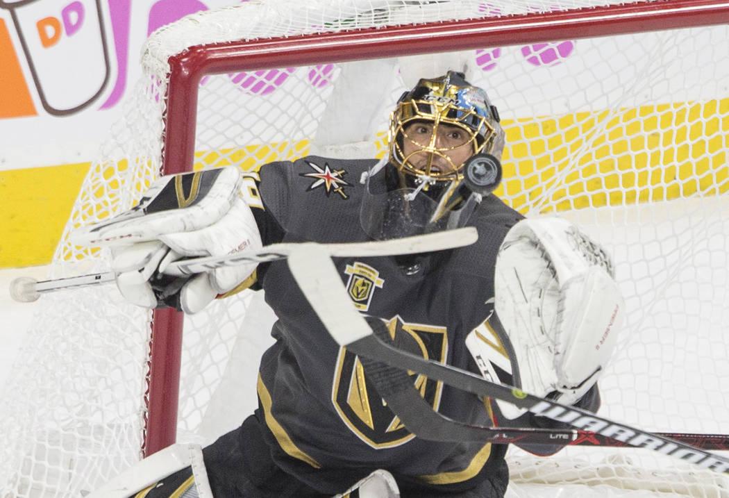 El portero de Vegas Golden Knights, Marc-André Fleury, tuvo una destacada actuacin. Miércoles 16 de mayo del 2018 en T-Mobile Arena. Foto Benjamín Hager / Las Vegas Review-Journal.