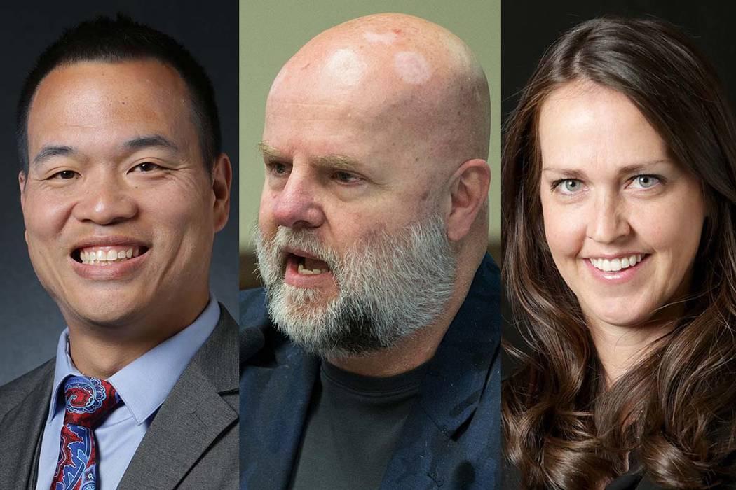 Vincent Ginn, desde la izquierda, James Dean Leavitt y Elana Graham están compitiendo para reemplazar a Deborah Lippis como Juez de Paz de Las Vegas. (Las Vegas Review-Journal)