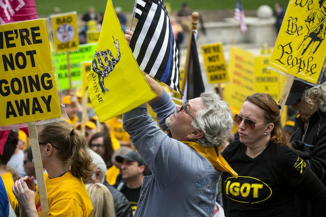 ARCHIVO - En esta foto de archivo del 25 de abril de 2018, Dave Fitzgerald de Girard, Illinois agita banderas mientras escucha a los oradores durante el mitin anual de IGOLD (Día del Lobby de los ...