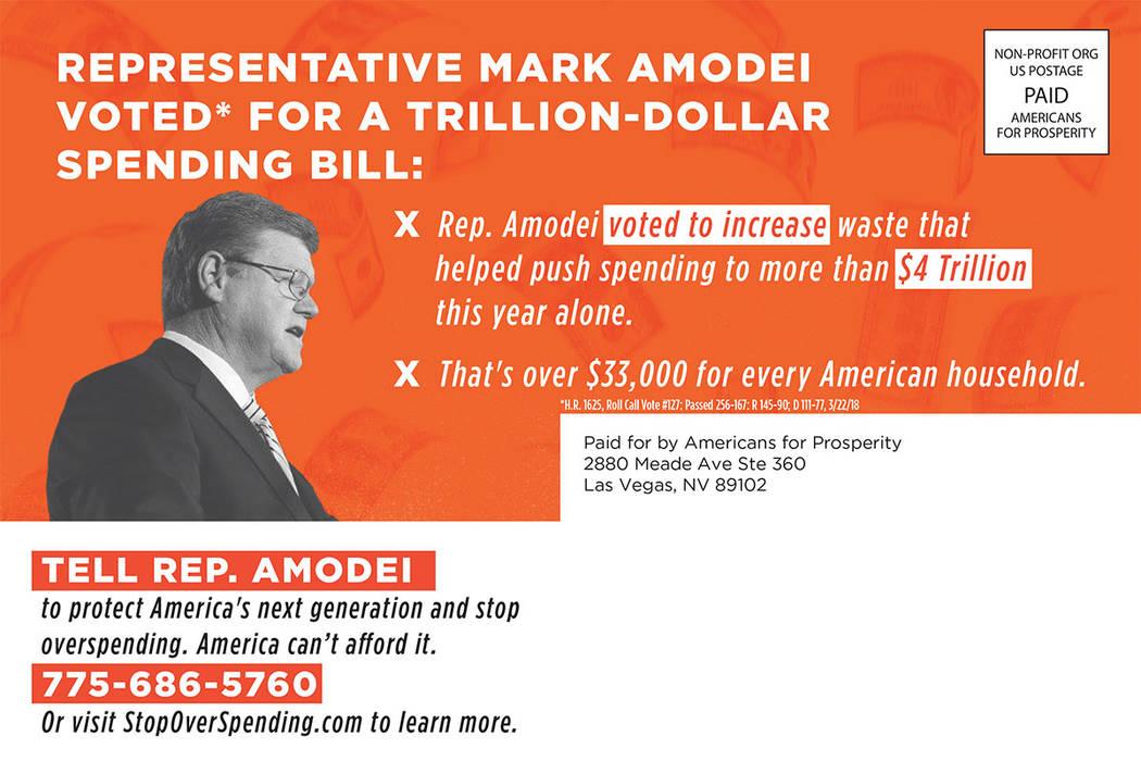 Este anuncio de correo directo critica al representante de EE.UU. Mark Amodei. (cortesía)