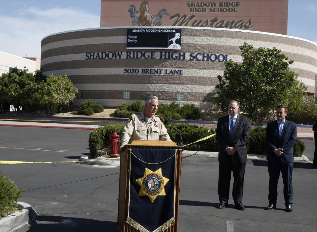 El alguacil, Joe Lombardo se dirige a los medios antes del inicio de un simulacro de fusilamiento masivo, coordinado por el Departamento de Policía Metropolitana y varias agencias en el área, en ...