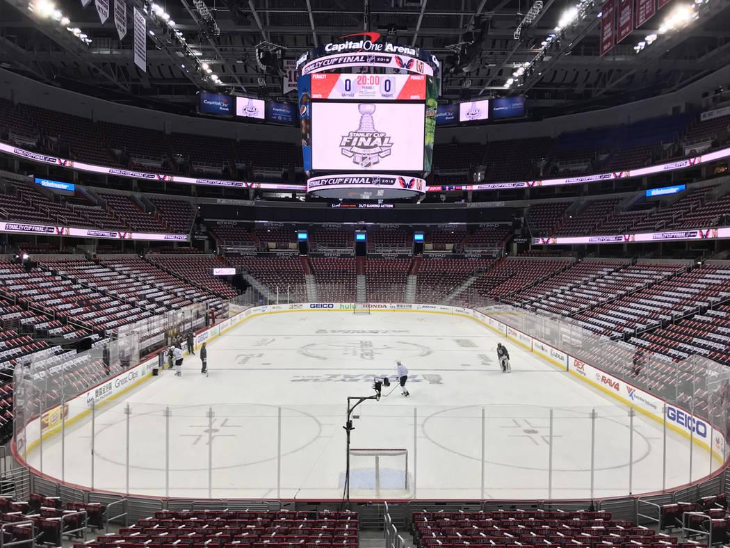Vegas Golden Knights cerró su preparación de cara al cuarto juego de la Gran Final de la Stanley Cup. Lunes 4 de junio de 2018 en Capital One Arena de Washington DC. Foto Anthony Avellaneda / El ...