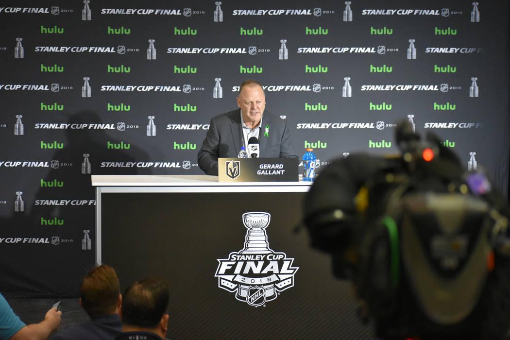 El entrenador de Vegas Golden Knights, Gerard Gallant, confia en empatar la serie en el cuarto juego de la Gran Final de la Stanley Cup. Lunes 4 de junio de 2018 en Capital One Arena de Washington ...