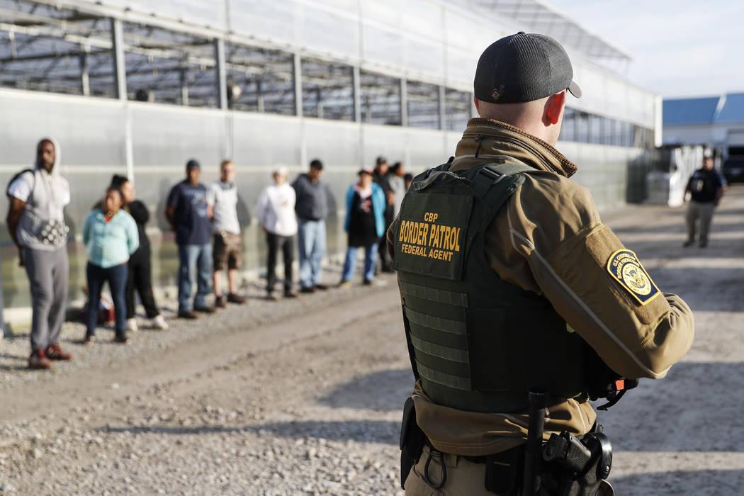 Agentes del gobierno hacen guardia junto con los sospechosos detenidos durante un ataque de inmigración en el Centro Flower and Garden de Corso, el martes 5 de junio de 2018, en Castalia, Ohio. L ...